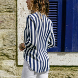V Neck Long Sleeve Chiffon Striped Blouse Casual Shirt Dress