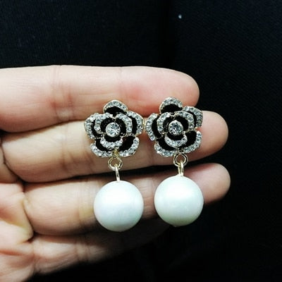 Shining Crystal Cubic Flower Push Back Earrings