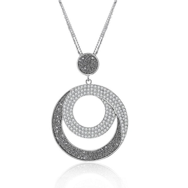 Big Circle Crystal Pendant Long Sweater Chain Necklace