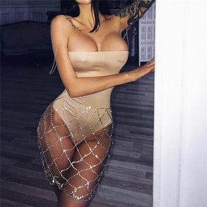 Diamonds Pattern Rhinestone Alloy Handmade Fishnet Skirt Chain