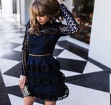Long Sleeve Cake Layer Elegant Star Embroidery Party Dress