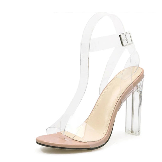 Jelly Crystal Open Toed High Heel