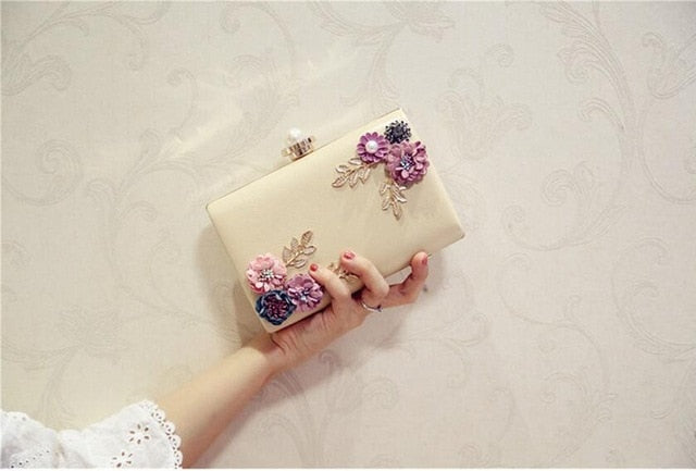 Handmade Flowers Diamond Embellished Mini Bag