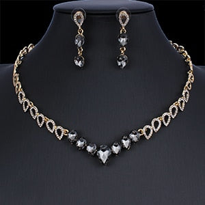 Crystal Rhinestone Hollow Chain Necklace Drop Earrings Jewelry Set