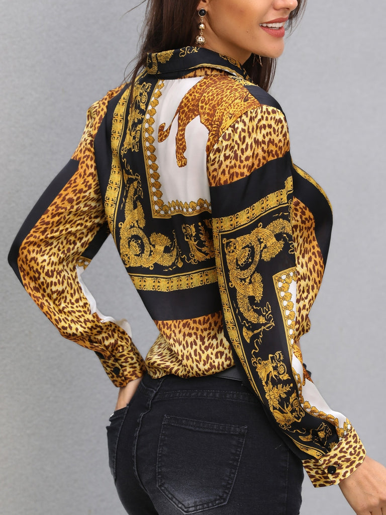 Turn-down Collar Leopard Print Long Sleeve Blouse