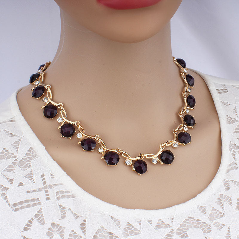 Resin Crystal Chain Necklace Drop Earrings Jewelry Set
