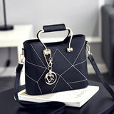 Geometric Print Solid PU Leather Mini Crossbody Bag