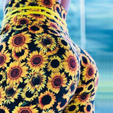 Sunflower Print Push Up Elastic High Waist Leggings