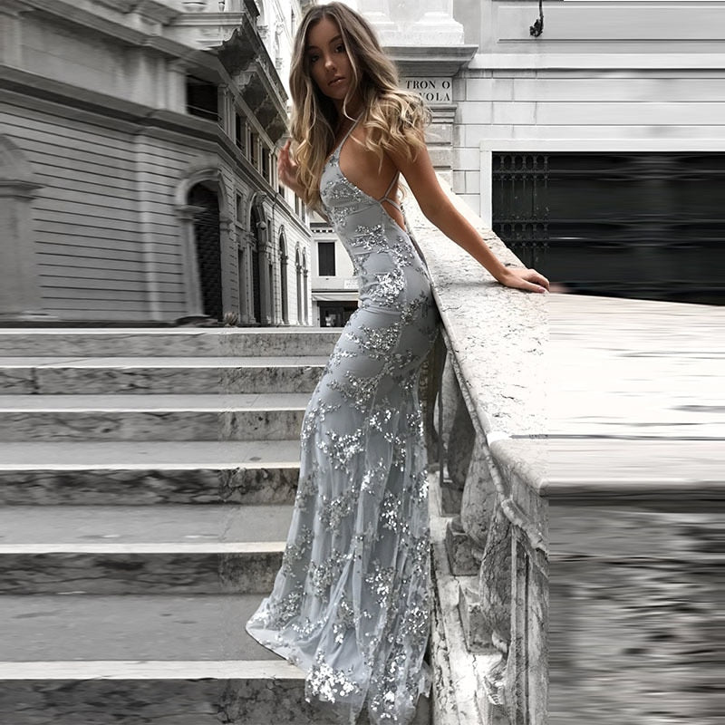 Sequin V Neck Spaghetti Strap Mermaid Maxi Dress