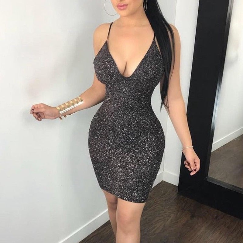 Metallic Hollow Out Back Shiny Pencil Bodycon Dress