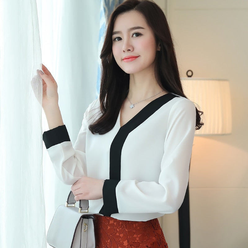V Neck Long Sleeve Chiffon Blouse Patchwork Shirt Dress