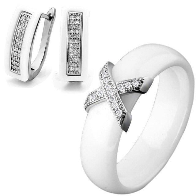 Cubic Zircon Ceramic Wide Ring Earrings Jewelry Set