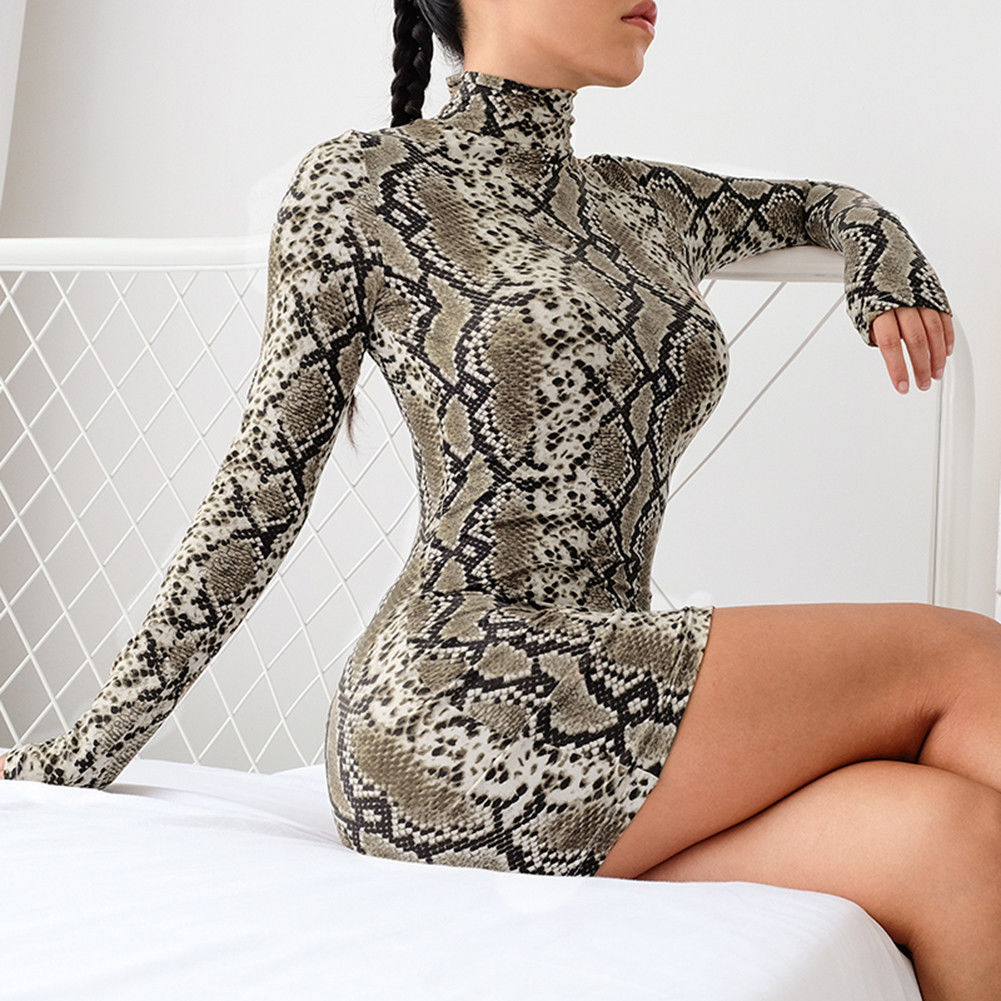 Fashion Long Sleeve Serpentine Printed Bodycon Dresses
