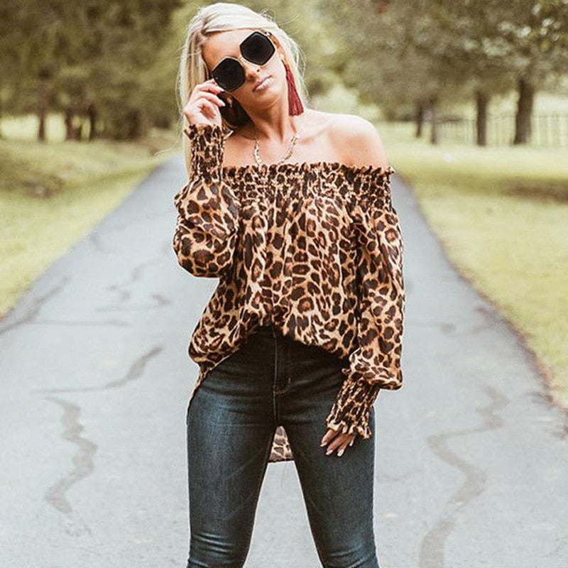 Loose Leopard Print Off Shoulder Ruffle Pullover Blouse Shirt Dress