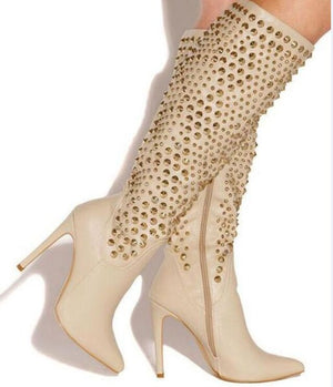 Pointed Toe Leather Knee High Spike Design Gold Rivet High Heel Long Boots