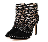 Pointed Toe Rivets Studded Cut Out Caged Ankle Boots