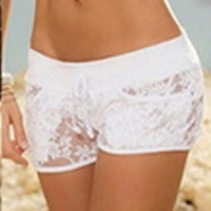 Hollow Out Shorts Elastic Waist Lace Shorts