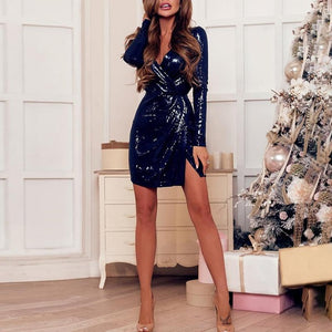 Sparkly Wrap Deep V-Neck Twist Front Slit Sequin Dress