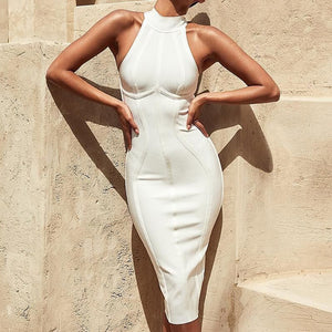 Sleeveless Ribbed Turtleneck Halter Midi Dress