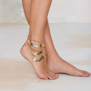 Multilayer Tassel Leaves Chain Ankle Bracelet