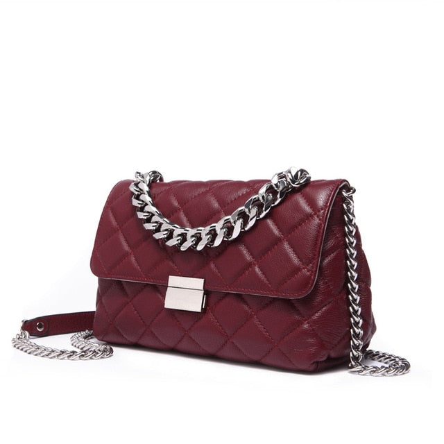 Small Leather Diamond Lattice Crossbody Bag