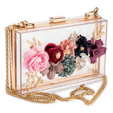 PVC Fabric Flower Gold Chain Pearls Beaded Crossbody Bag