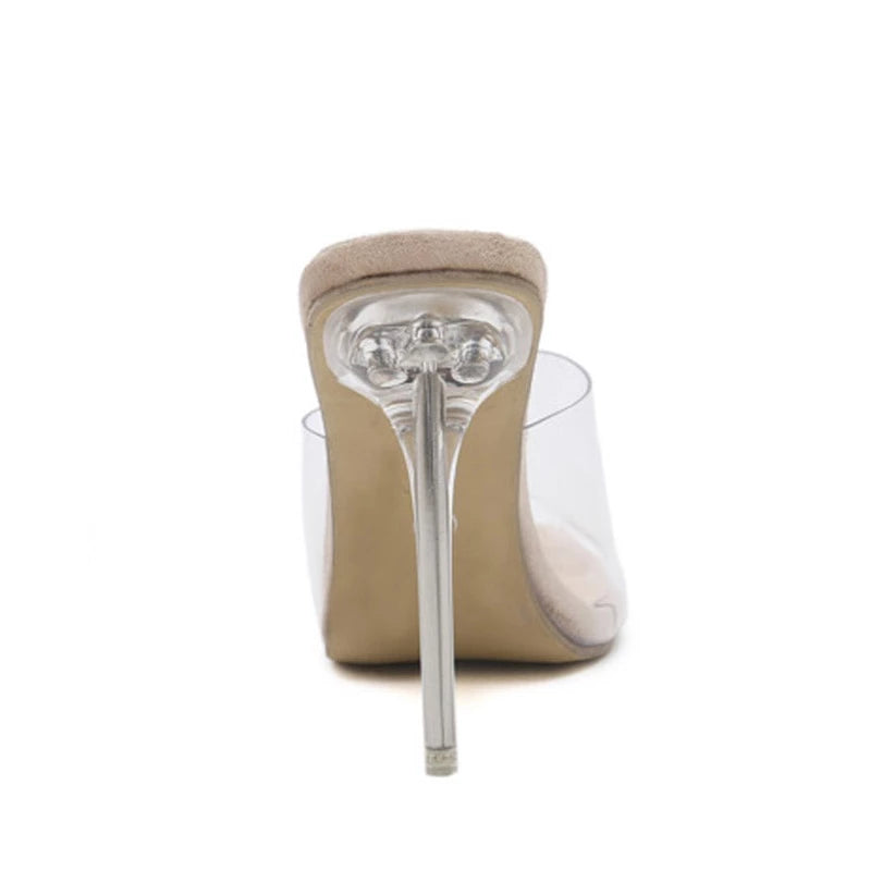 Jelly Open Toe Transparent Perspex High Heel