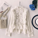 Multi Layer Pleated Spliced Lace Long Sleeved Blouse Shirt Dress