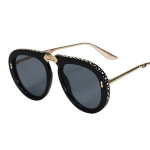 Crystal Oversize Foldable Alloy Frame Aviator Sunglasses
