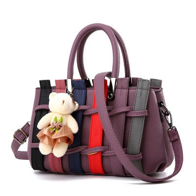 Knitting PU Pattern Teddy Bear Decor Top-Handle Handbag