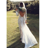 Vintage Lace O-Neck Long Sleeve Backless Maxi Dress