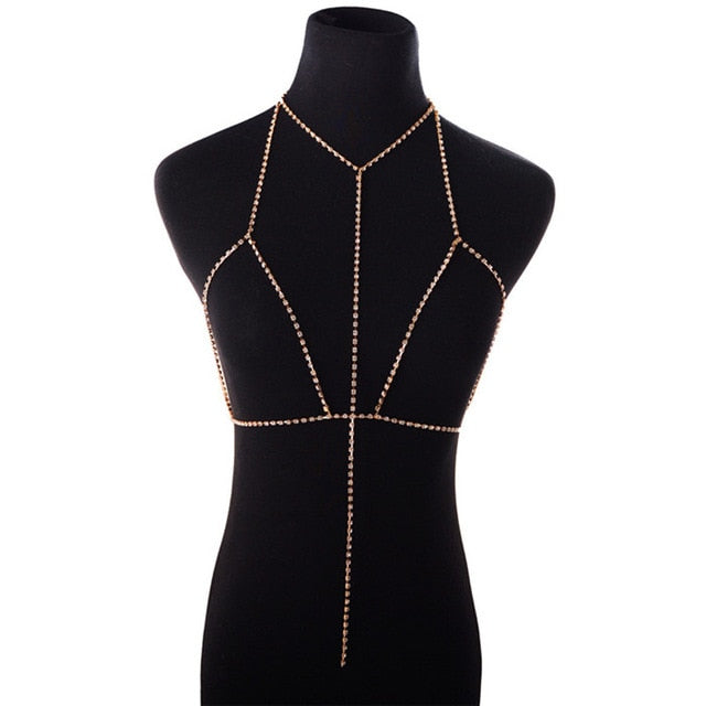 Shiny Rhinestone Tassel Bra Body Chain Sexy Jewelry