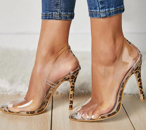 Transparent Leopard Grain Party Pump Heel