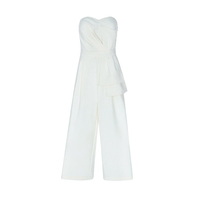 Strapless Backless Sweetheart Neckline Ruffles Half Length Pant Jumpsuit