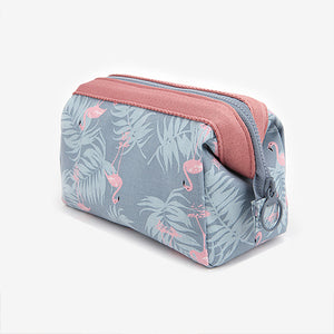Floral Flamingo Pillow Shaped Canvas Portable Makeup Bag