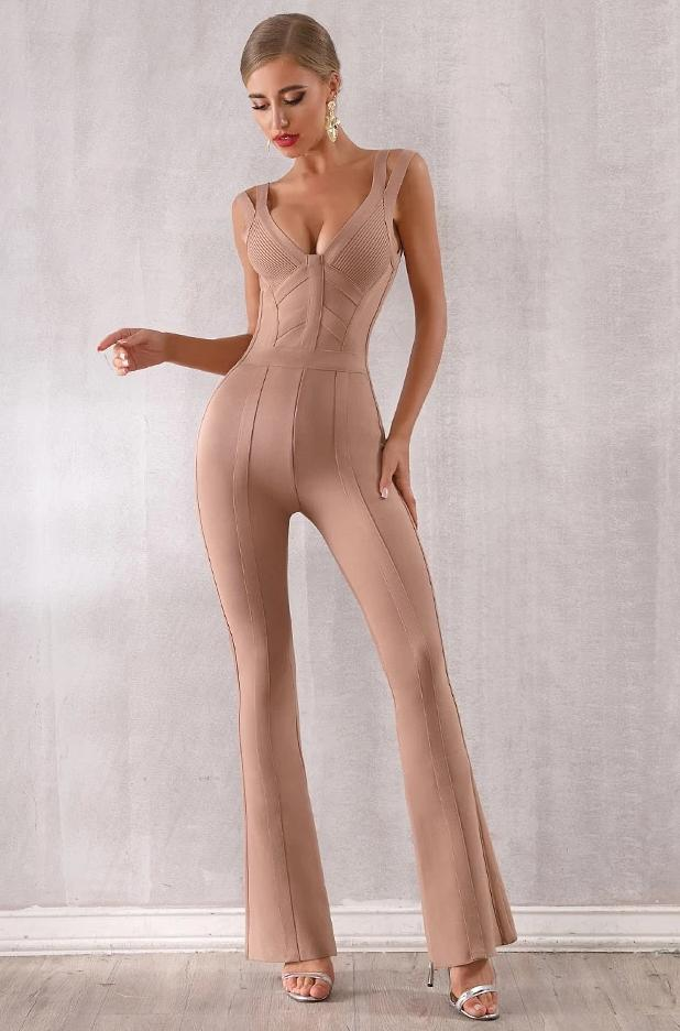 Double Thick Strap V Neck Sleeveless Backless Bell Bottom Jumpsuit
