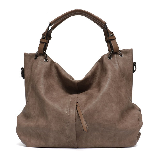 Large Leather PU Hobo Solid Pocket Shoulder Bag