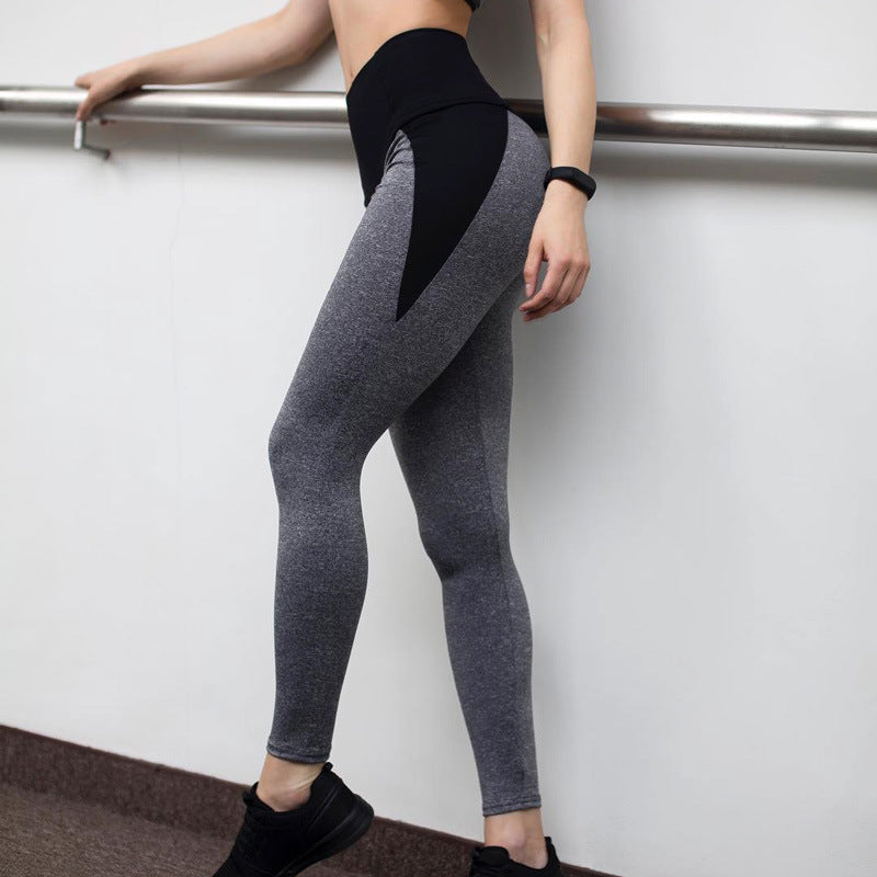 Patchwork High Waist Elastic Push Up Ankle-Length Leggings
