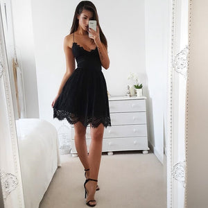 Lace Short Bandage Spaghetti Strap Midi Dress