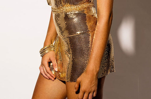 Sparkly Metal Sequin Strapless Sleeveless Two Piece Dress
