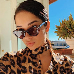 Solid Leopard Retro Style Mirror Lens Cat Eye Sunglasses
