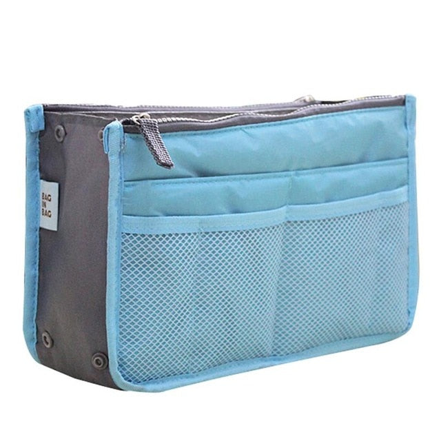Solid Waterproof Box Shaped Zipper with Mesh Pockets Foldable Makeup Bag