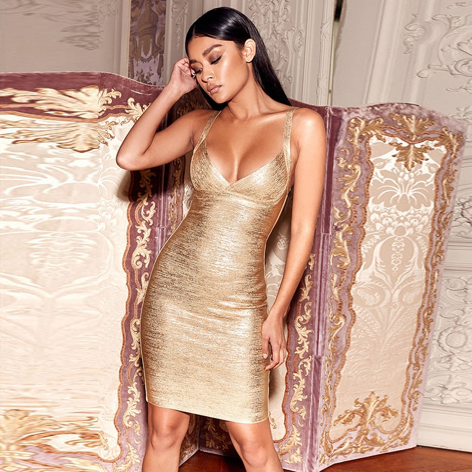 Spaghetti Strap Bandage Celebrity Bodycon Dress