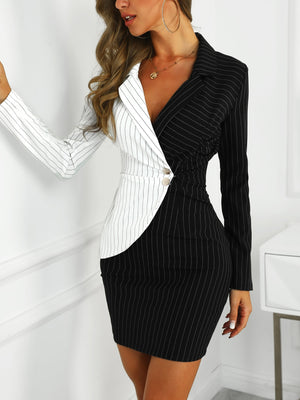 Contrast Striped Turn Down Collar Long Sleeve Button Blazer