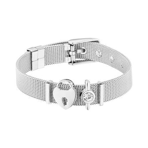 Mesh Wide Strap Stainless Steel Charm Bracelet