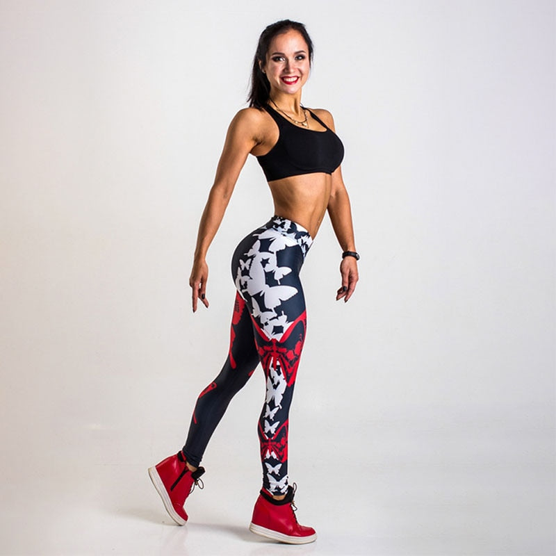 Butterfly Print High Waist Push Up Seamless Ankle-Length Leggings