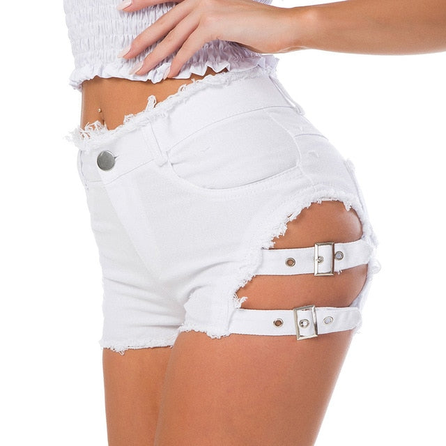 Denim Hollow Out Bandage High Waist Shorts