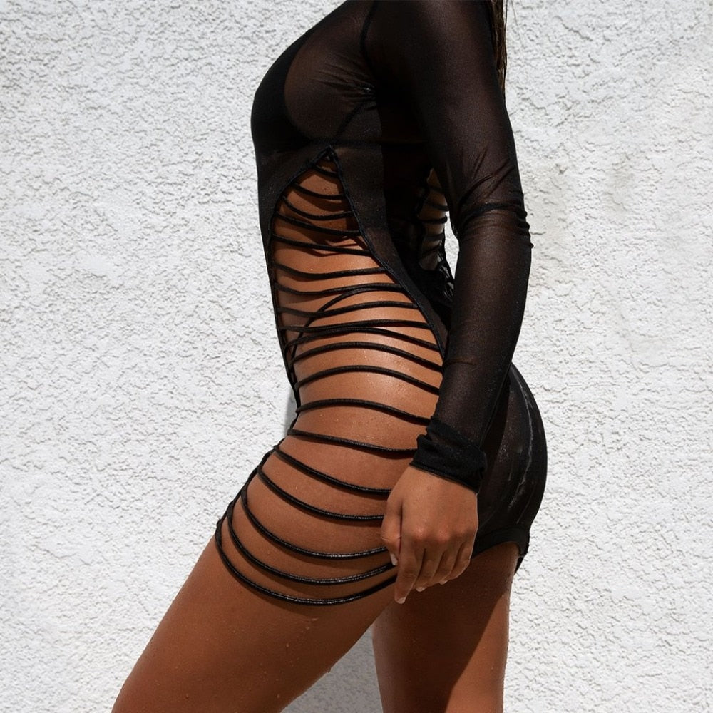Long Sleeve Mesh Hollow Out O-Neck Bodycon Dress