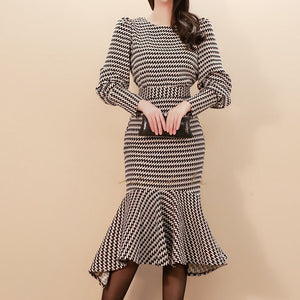Striped O Neck Long Lantern Sleeve High Waist Midi Dress