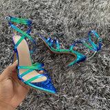 Snake Print Ankle Strap  Patent Leather High Heel